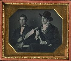 Occupational Daguereotype ca. 1840-60, [daguerreotype portrait of two gentlemen, one with a saw, the other, a hammer]    via Harvard University's Houghton Library, Department of Printing and Graphic Art, Harrison D. Horblit Collection of Early Photography
