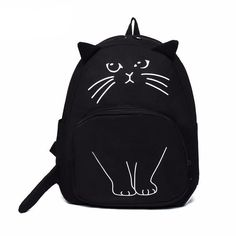 Lovely Cat Printing Backpack Women Canvas School Bags