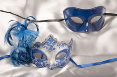 Blue and silver His and Hers Masquerade Masks for Couples - Daniela Silver