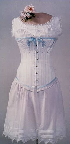fb8668db60e Corsets  Victorian Corset with Blue Trim. Shown with Victorian Cotton  Chemise.