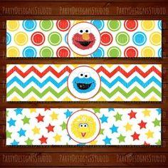 This item is unavailable Sesame Street Party, Sesame Street Birthday, Elmo World, Elmo Cookies, Elmo And Cookie Monster, Water Bottle Labels, Big Bird, Graduation Invitations, Baby Birthday