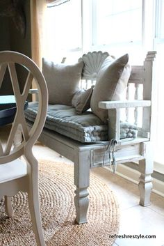 Beautiful Spa Bench (End Table and Headboard used to make a Bench)