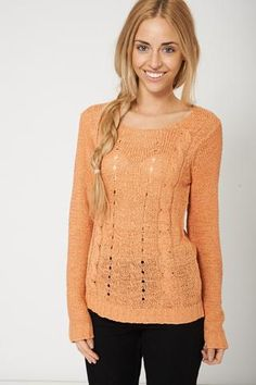 Casual Orange Cable Knitted Sweater Winter Outfits