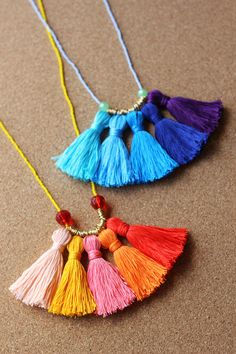 Learn how to craft this colorful necklace by making a stunning (but super simple) array of tassels from embroidery thread.