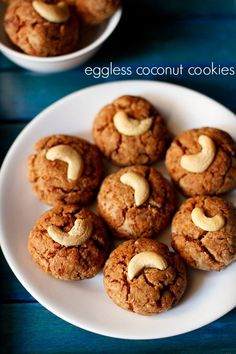 coconut cookies recipe with step by step photos - easy and tasty eggless coconut cookies made with whole wheat flour, jaggery and desiccated coconut. these super yum coconut cookies can be made in a jiffy and the only time taking part is the baking time. Eggless Cookie Recipes, Eggless Baking, Coconut Recipes, Jaggery Recipes, Vegan Baking, Coconut Biscuits, Coconut Cookies, Healthy Cookies, Baking Cookies