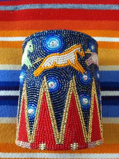 Spectacular beadwork, posted by keepcalmbeadon: Beaded horse cuff, the Cedar Chest (Osage owned) Native American Regalia, Native American Crafts, Native American Beadwork, Loom Beading, Beading Patterns, Beading Ideas, Beading Projects, Crochet Projects, Beadwork Designs