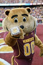 Goldy,the Gopher,mascot for the Minneasota Golden Gophers. Goldy looked more like a aquirrel then a gopher.
