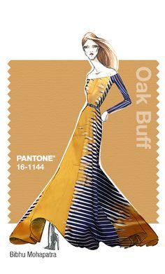 Bibhu Mohapatra in Pantone Oak Buff - FALL 2015 PANTONE's FashionColorReport