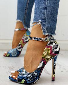 Peep Toe Colours Snakeskin Print Thin Heels Peep Toe Colours Snakeskin Print T. Peep Toe Colours S Stilettos, Stiletto Pumps, Pumps Heels, Peep Toe Heels, High Heels Boots, Shoe Boots, Crazy High Heels, Cool High Heels, Dress Boots