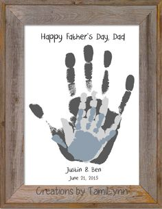 This personalized and custom 8x10 inch family handprint artwork features 3 sets of handprints layered on top of each other. This artwork can