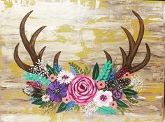 Antlers with Flowers Easy #AcrylicPainting tutorial #angelafineart #YouTube #deer #antlers #floraldesign #wedding #rustic #rusticwedding #rusticdecor