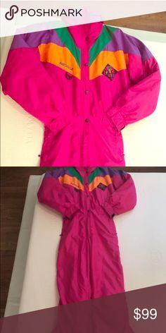 474590b352 Nevica Vintage Retro 80s 90s Ski Onesie Snowsuit Women s Size 8 Neon Pink