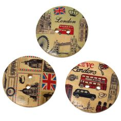 2 Pcs Big 30MM Mixed Women Men Vintage Flag Wood Button Decorative Wooden Buttons scrapbooking scrapbook Sewing Accessories