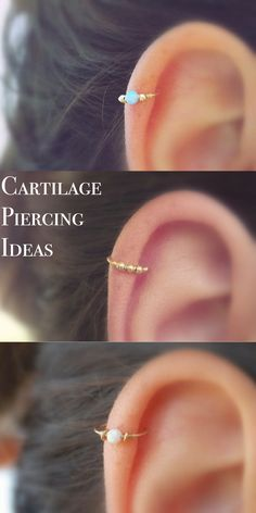 Simple Cute Ear Piercing Ideas at MyBodiArt.com - Cartilage Piercing Hoop Ring Jewelry Opal 16G Andromeda