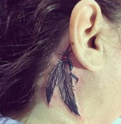 Feather Tattoo Behind Ear, Small Feather Tattoo, Indian Feather Tattoos, Tribal Back Tattoos, Behind Ear Tattoos, Cherokee Tattoos, Native Tattoos, Back Tattoos For Guys Upper, Tattoos For Women Small