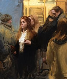 """In the Subway"", Oil on Canvas, 41.5"" x 35.5"" By Nick Alm"
