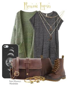 """""""Remus Lupin"""" by evalupin ❤ liked on Polyvore featuring WithChic, Casetify, Dr. Martens, Charlotte Russe, Gorjana, harrypotter, remuslupin and lupin"""