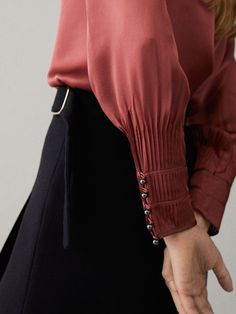 Oversized silk blouse with cuff detail Kurti Sleeves Design, Sleeves Designs For Dresses, Sleeve Designs, Blouse Designs, Sewing Sleeves, Cuff Sleeves, Fashion Details, Fashion Design, Shirt Blouses