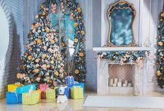 10X6.5FT-Christmas Tree Photography Backdrops White Brick Wall Bear Party Decoration Photo Studio Background