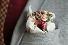 Pocket Square white rose mens fashion