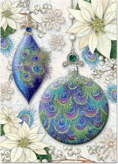 Take a look at this Punch Studio Peacock Ornament Dimensional Card - Set of 12 on zulily today! Peacock Decor, Peacock Colors, Peacock Art, Peacock Ornaments, Painted Ornaments, Xmas Ornaments, Christmas Holidays, Christmas Bulbs, Christmas Crafts