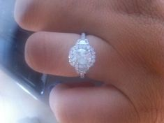 Please post pictures of rectangular radiant/cushion cut w/ halo and side stones! Free Wedding, Budget Wedding, Our Wedding, Wedding Planning, Wedding Rings, Wedding Bells, Wedding Stuff, Wedding Engagement, Engagement Rings