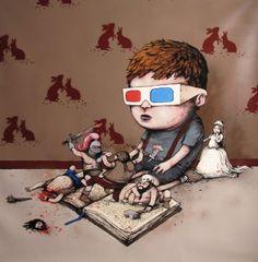 Reading in 3D / Lectura en 3D (ilustración de Dran)