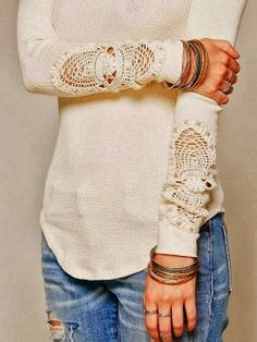 Adorable Off-White Sweater Shirt with Lace Sleeves and Stylish Jeans for Ladies