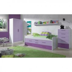 Conjunto juvenil completo iPlay    Dormitorio Juvenil Completo en color Blanco Brillo y combinado con Lila.    Compuesto por una cama, armario, estantería y cómoda.     Sayez