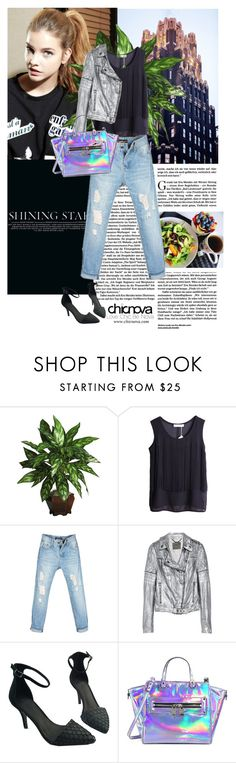 """""""We're just tryin' to find some color in this black and white world."""" by milkandabsinth ❤ liked on Polyvore featuring Nearly Natural, MuuBaa, Milly, leatherjacket, chicnova, boyfriendjeans, metallic and holographic"""