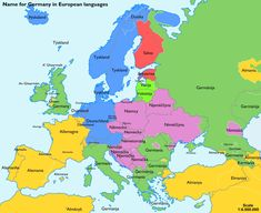 """From Quora: """"Why do the French call Germany Allemagne, the Germans call it Deutschland, and Latin/Italians call it Germania? Greece Today, German Names, Word Map, K Om, European Languages, European Countries, Learn German, German Language, Armenian Language"""