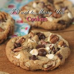 DESSERTS I Want to Marry You Cookies - Probably the best chocolate chip cookies you'll ever have the honor of meeting. Expect the unexpected with these gems! Easy Cookie Recipes, Cookie Desserts, Just Desserts, Sweet Recipes, Delicious Recipes, Cokies Recipes, Fast Dessert Recipes, Recipies, Simple Recipes