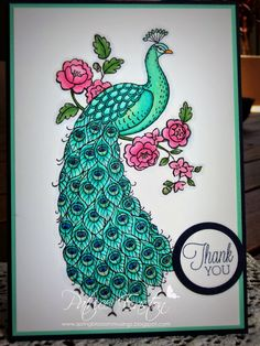 Perfect Peacock - Spring Blossom Musings ** do as a Spotligt technique at bottom of the tail feathers. Perfect Peacock, Bird Cards, Stamping Up Cards, Spring Blossom, Card Sketches, Masculine Cards, Cool Cards, Making Ideas, Thank You Cards