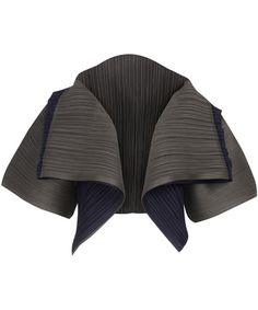 Cropped two tone jacket from the Pleats Please Issey Miyake collection.     Pleated stretch, open front cropped jacket in grey and midnight blue, featuring a wide shawl collar and wide, 3/4 length sleeves.       Composition   100% Polyesters