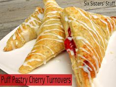 Easy Puff Pastry Cherry Turnovers- these are a delicious dessert or easy after school snack! SixSistersStuff.com #dessert #puffpastry