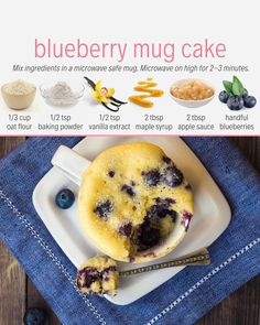Blueberry Mug Cake Plant based meal prep plans that feature whole foods, oil free ingredients and vegan recipes. Only cook twice a week, eat more plants and feel amazing. Gluten Free Mug Cake, Vegan Mug Cakes, Mug Cake Healthy, Healthy Desayunos, Healthy Sweets, Healthy Snacks, Diabetic Snacks, Easy Snacks, Vegan Foods