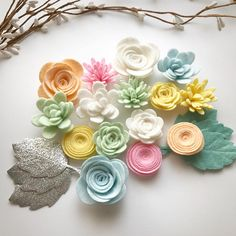 Creamsicle felt flower pack