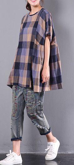 original baggy plaid casual cotton tops ruffles short sleeve t shirts