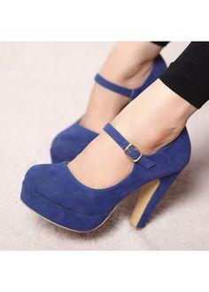 Sweet Mary Jane Blue Suede Chunky High Heels on sale only US$19.26 now, buy cheap Sweet Mary Jane Blue Suede Chunky High Heels at martofchina.com