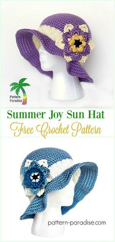 Next Previous Crochet Ladies Solar Hat Free Patterns Directions Next Previous Crochet Hat With Brim, Crochet Summer Hats, Crochet Beanie Hat, Knitted Hats, Crochet Daisy, Crochet For Boys, Free Crochet, Crochet Crafts, Crochet Projects