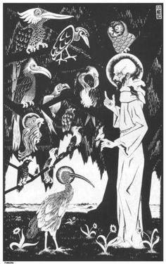 St. Francis preaching to the Birds - M.C. Escher, 1922