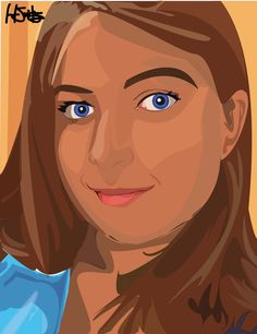 Self portrait done entirely in vector shapes.