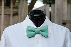 Seafoam Teal Dark Mint Aqua Men's Bow Tie by starleewhite on Etsy, $27.00