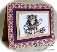 Gifts to Tie with Rhea | Stampendous Impressions - Monica Mouse is wrapping up a special gift for you! Terrific coloring tutorial by @Rhea Weigand