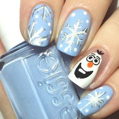 Snowflakes + Olaf from Frozen Nail Art Design