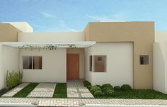 Floor Design, House Design, Small House Exteriors, Modern Garden Furniture, One Storey House, Mexico House, Small Courtyards, Facade House, Simple House