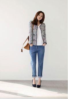 tweed jacket, boyfriend jeans Boucle Jacket, Tweed Jacket, Boyfriend Jeans Style, What To Wear, Essentials, Cozy, Blazer, Nice, My Style