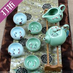 Top Recommended! Chinese ASIAN classical porcelain tea set Longquan celadon gift