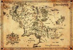 Middle Earth Map - Poster von Der Herr der Ringe
