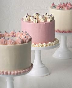 I wonder if the one in the middle is a pink cake Pretty Cakes, Cute Cakes, Beautiful Cakes, Amazing Cakes, Yummy Cakes, Fancy Cakes, Mini Cakes, Cupcake Cakes, Petit Cake